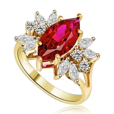 Designer Ring with 2.0 Cts. Marquise cut Ruby Essence in center accompanied by delicately set Marquise and Melee on each side. 3.0 Cts. T. W. set in 14K Solid Yellow Gold.