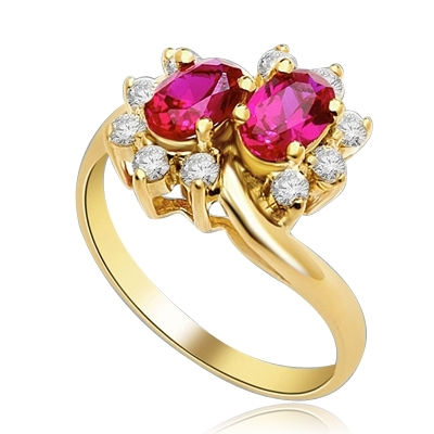 Two Ruby Oval Essence, 0.5 ct. each, set in four prongs and surrounded by melee to give floral effect. 1.20 cts. t.w. In 14k Solid Yellow Gold.