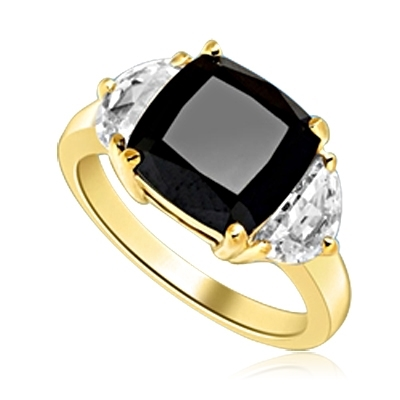 Half Moon Ring -  1.0 Cts. Half Moon Shaped Diamond Essence, set on each side of 4.0 Cts. Cushion cut Onyx Essence in center, 6.0 Cts. T.W. set in 14K Solid Yellow Gold.
