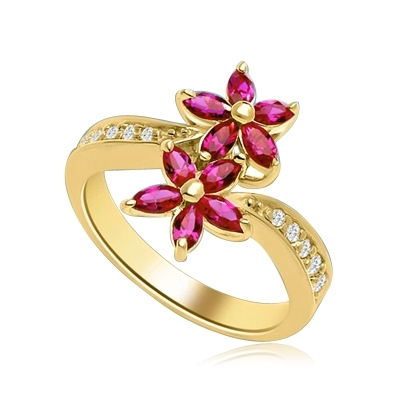 Dual Flowers - Curvy Band shines bright and Ruby Oval Flower Cluster sits pretty in this unique design. 2 Ct. T.W. In 14K Solid Yellow Gold.