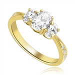 Cool Chic 3 Oval Stone Ring in Tiffany Band, 2 Cts. T.W. In 14k Solid Yellow Gold.