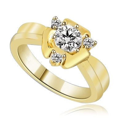 Designer Ring with Round Brilliant Diamond Essence, 0.65Ct in center set in three prongs nd Melee on corners to add more sparkles,0.75Cts. T.W. set in 14K Solid Yellow Gold.