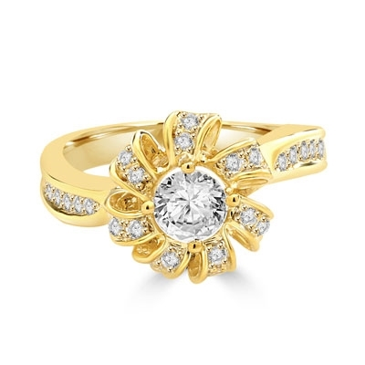 Designer Ring with 0.50 Cts. Round Brilliant Diamond Essence set in center of sparkling bow of Melee, with Melee set on either sides of the band. 0.75 Cts. T.W. set in 14K Solid Yellow Gold.