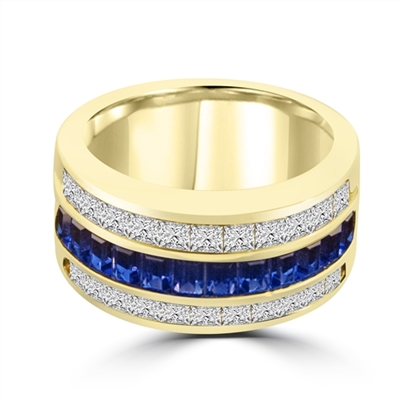 Sparkling Ring with three rows of Brilliance. Sapphire Essence Baguettes center is accentuated by Channel set Princess cut Diamond Essence Masterpieces. 5.0 cts.t.w. in 14K Solid Gold.
