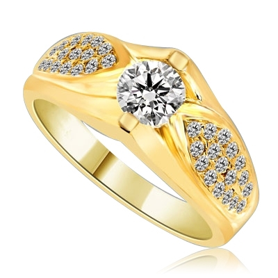 Designer Ring with 0.50 Ct. Round Brilliant Diamond Essence in center with cluster of Melee set in Leaf design. 1.35 Cts. T.W. set in 14K Solid Yellow Gold.