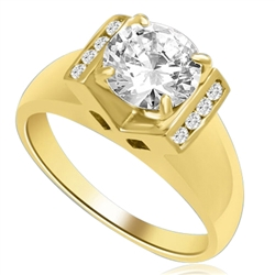 A Brilliant 2 Ct. Round sits smartly atop a wide tapering band with bezel set accentuators. The V Groove is an eye pleaser with 4 prong setting. 2.10 Ct. T.W. In 14k Solid Yellow Gold.