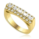 Now this one ring is going to set the pulse thumping! Wide Band is adorned with 5 X 0.25 Ct. Baguettes sexily surrounded by Round Accent Melee. 2 Cts. T.W. In 14k Solid Yellow Gold.