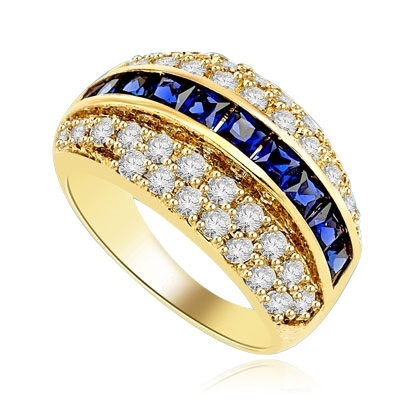 Diamond and Sapphire Ring - Impressive ring, one row of 2.0 Cts. Princess Cut Sapphire Essence stones in center with two rows of melee on each side. 2.50 Cts.T.W. set in 14K Solid Yellow Gold.