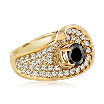Big and Beautiful Ring With Round Cut Onyx Essence set in center surrounded by sparkling Melee. 2.0 Cts. T.W. set in 14K Solid Yellow Gold.