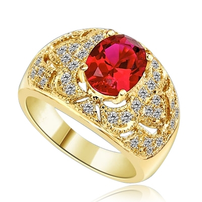 Designer Ring with 2.0 Cts. Oval cut Ruby Essence in center with Melee set floral design on the band. 2.5 Cts. T.W. set in 14K Solid Yellow Gold.
