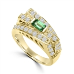 Diamond Essence Designer Ring In Unusual Artistic Design With 0.25 Ct. Emerald Baguettes And Round Melee, 1.75 Cts T.W. In 14K Solid Yellow Gold.