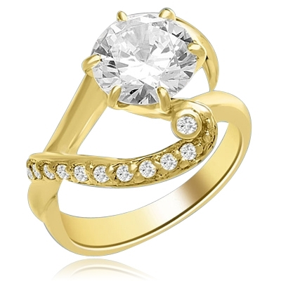 A designer ring with 2.5 Ct. Round White Brillaint Stone Sitting Pretty on a Curvacious Band. In 14k Solid Yellow Gold.