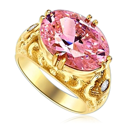 East West Ring - 8.5 Cts. Oval Cut Pink Essence set in heavy, eight prongs setting, with bezel set melee on each side. 8.65 Cts. T.W.  set in 14K Solid Yellow Gold Ring.