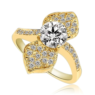 Shining Leaves - Ring with 1.25 Cts. Round Brilliant Diamond Essence in center between two shining leaves, 1.60 Cts. T.W. set in 14K Solid Yellow Gold.