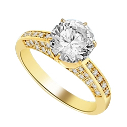 Diamond Essence Designer Ring with 2.0 Cts. Round Brilliant Diamond Essence in Center and melee set on three sides of band, 3.90 Cts. T.W. set in 14K Solid Yellow Gold.