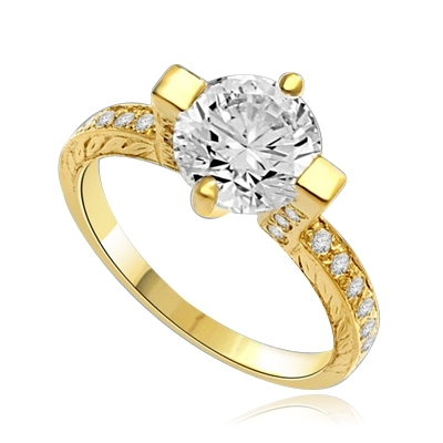 Two Carat Solitaire Ring in Horizontal Wide Prong and melee on the band., 2.50 Cts. T.W. In 14k Solid Yellow Gold.