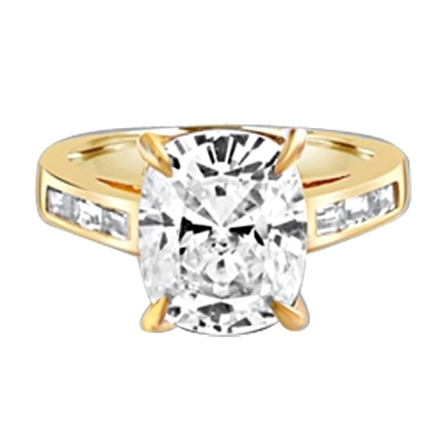4CT Radiant Emerald Essence Tapered brilliantly to sparkle even more, and the band is further enhanced by 3 Baguettes Stones artistically channel set. 5 Cts. T.W. In 14k Solid Yellow Gold.