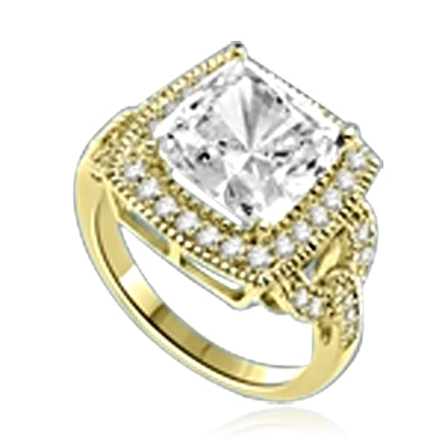 An Artistic Ring that boasts a sparkle of 4 Ct. Cushion Cut Diamond Essence Masterpiece with a supreme row of melee essence on the salute set in 14K Solid Yellow Gold.
