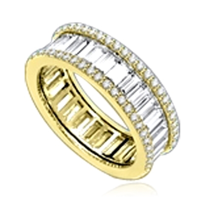 Magnificent Eternity Band with Diamond Essence Baguettes all around, outlined with Diamond Essence melee in delicate prong setting of 14K Solid Yellow Gold. 4.5 Cts. T.W.