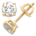 Screw Backs by Diamond Essence set in 14K Solid Yellow Gold