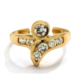 Diamond Essence 14K Solid Yellow Gold Toe Ring with 0.25 Ct. Round Brilliant Melee Set In Spiral Design.