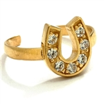 Diamond Essence 14K Solid Yellow  Toe Ring, with 0.20 Ct.T.W. Round Brilliant Melee in Delicate Horseshoe Setting.
