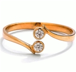 Diamond Essence 14K Solid Yellow Gold Toe Ring with 0.05 Ct.T.W. Round Brilliant Melee in Bezel setting.