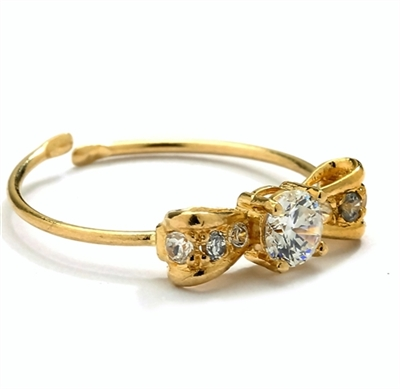 Diamond Essence 14K Solid Yellow Gold Toe Ring with 0.25 Ct.T.W. Round Brilliant Melee Set In Delicate Bow Setting.