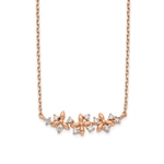 "14K Rose Gold Necklace with delicate floral design. 1.0 Ct.t.w. Round Brilliant stones set in three prongs setting. Chain length 15"" with 1"" extension."