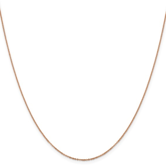 14k solid rose gold 1.10 mm Flat Cable Chain