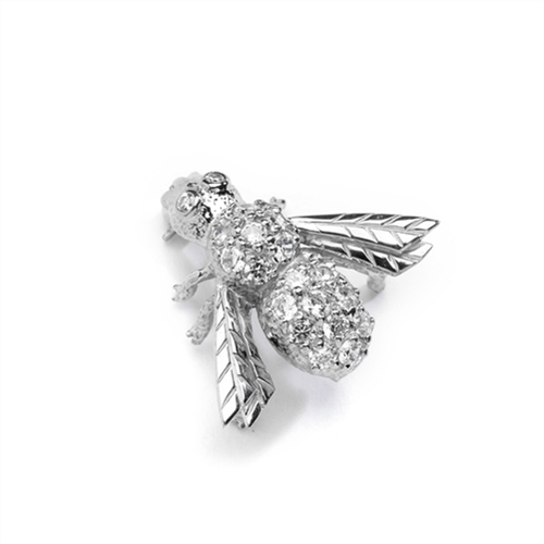 Attractive Bee Pin, 0.85 Cts. T.W. with a bevy of Round Cut Jewels, in Platinum Plated Sterling Silver.