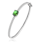 Bangle Bracelet - 2.0 Cts.Oval cut Emerald Essence set in center with sparkling Diamond Essence Melee going around the Bangle, 4.0 Cts.T.W. set in Platinum Plated Sterling Silver.