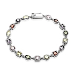 Unique Diamond Essence Bracelet with colorful stones, set in Platinum Plated Sterling Silver.