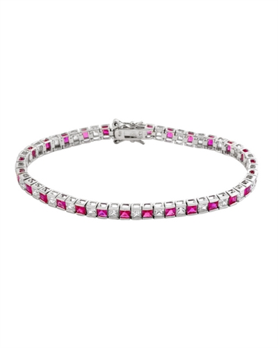 Diamond Essence and Ruby Essence princess cut tennis bracelet, each stone of 0.20 ct. in alternate setting in Platinum Plated Sterling Silver. 10.4 cts.t.w.