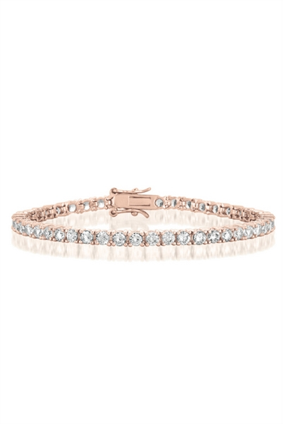 "Diamond Essence Tennis Bracelet, 7"" long. Round brilliant stone, 0.12 ct each set in four prong setting. 5.5 cts.t.w. in Rose Plated Sterling Silver."