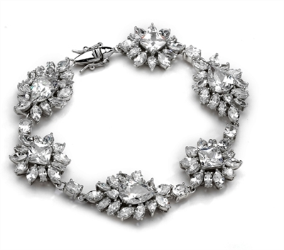 Diamond Essence Party wear Bracelet, 30 Cts.T.W with beautiful creation of Brilliant Pear,Princess,Marquise and Oval Stones, in Platinum Plated Sterling Silver.