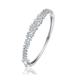 Diamond Essence Hinged Bangle Bracelet in Prong Settings. 3.25 Cts.t.w. in Platinum Plated Sterling Silver. Shine your Holidays with this beautiful piece.