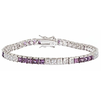 Diamond Essence tennis bracelet, 0.20 carat each, princess cut Amethyst and Diamond Essence stones set in alternate group of 5 stones. 10.4 cts.t.w. set in Platinum Plated Sterling Silver.