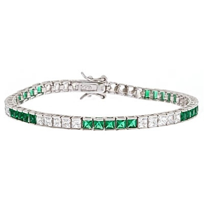 Diamond Essence and Emerald Essence princess cut tennis bracelet, each stone of 0.20 ct. set in alternate group of 5 stones. 10.4 cts.t.w. in Platinum Plated Sterling Silver.