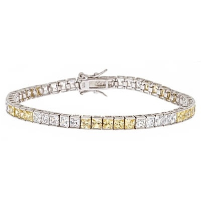 Diamond Essence and Citrine(yellow)  Essence princess cut tennis bracelet, each stone of 0.20 ct. set in alternate group of 5 stones. 10.4 cts.t.w. in Platinum Plated Sterling Silver.