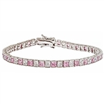 Diamond Essence and Pink Essence princess cut tennis bracelet, each stone of 0.20 ct. in alternate setting in Platinum Plated Sterling Silver. 10.4 cts.t.w.
