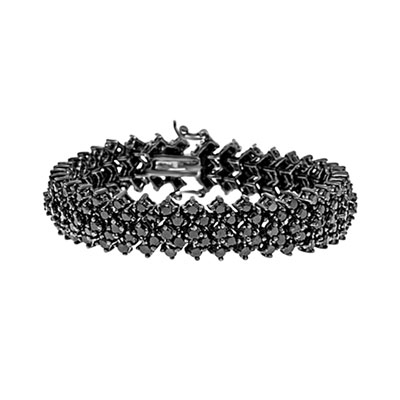 A perfect party wear. Diamond essence onyx bracelet is made up of 195 stones, 0.10 ct. each, set in dome style in black rhodium plated over sterling silver. 19.50 cts.t.w.