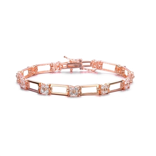 Diamond Essence Designer Bracelet With 0.06 Ct. Each Round Brilliant Stones, Four Round Stone Together Makes Floral Look And Separated By Metal Link Which Enhances The Beauty Of Bracelet In Rose Plated Sterling Silver, 2.64 Cts.T.W.