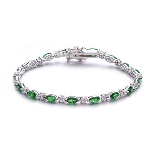 Diamond Essence Silver Bracelet With Green and White Stones Placed Alternately For A Glamorous Look