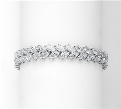 "7"" long Diamond Essence Designer Bracelet with 32.0 Cts. Marquise Essence, set in Platinum Plated Sterling Silver."