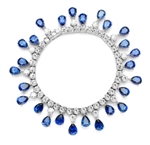 "Diamond Essence dazzling Bracelet, 7.25"" long. 1.0 Ct. each Sapphire Essence Stone dangling from Round Brilliant Diamond Essence stone. Appx. 50.0 Cts. T.W. set in Platinum Plated Sterling Silver."