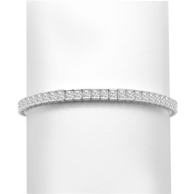 "7"" long tennis bracelet strung with 55 princess cut masterpieces in a mesmerizing array, with double safety clasp, 6.0 cts. t.w. in Platinum Plated Sterling Silver."
