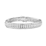 "7"" long Lovely best selling bracelet with 23.25 cts.t.w. of Princess Cut Diamond Essence in Platinum Plated Sterling Silver."