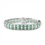 Lovely best selling bracelet with 23.25 cts.t.w. of Princess cut Emerald Essence and Princess cut Diamond Essence stones set in Platinum Plated Sterling Silver.
