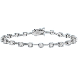 Diamond Essence round brilliants, 0.25 ct. each, set in four prongs setting, and in alternate fashion with bars. 5.25 cts.t.w.in Platinum Plated Sterling Silver.